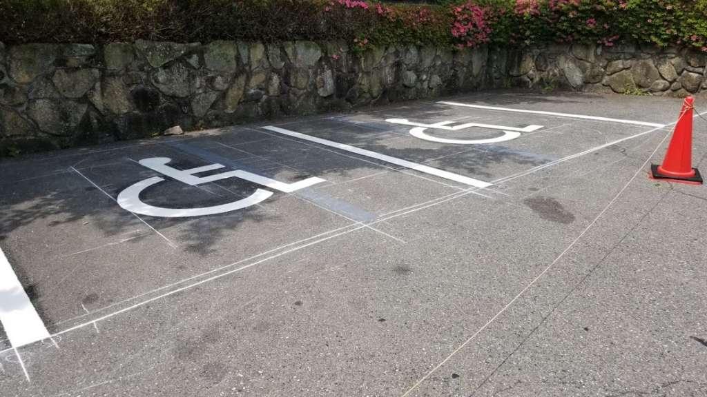 渋川市伊香保町 Iホテル様 駐車場 白線ライン工事|施工後