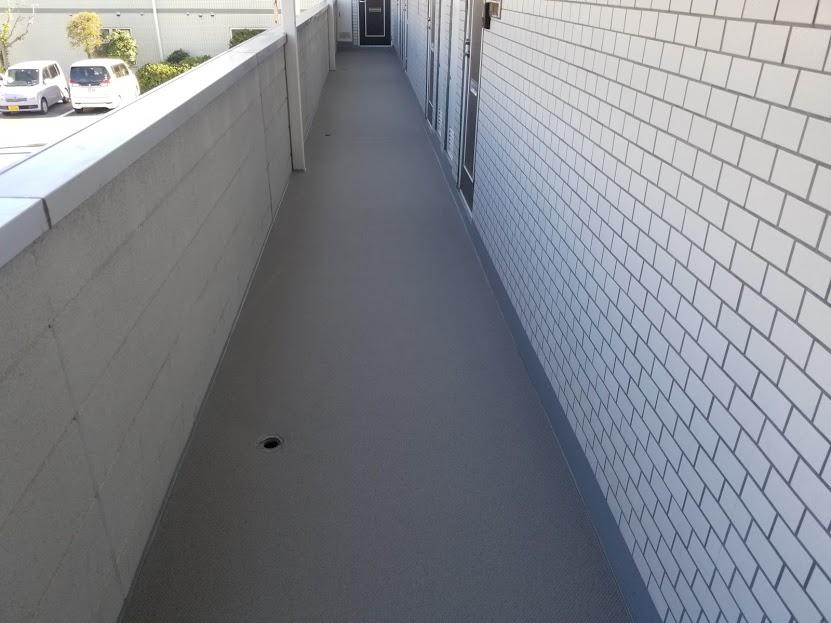 高崎市 Hアパート様 通路防水工事 長尺シート|施工後
